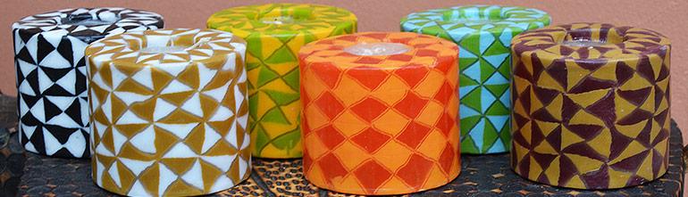 Kerzenset Geometry intro, Farbe: multi, Form: Pillar. Handgemachte Designkerzen. Kerzen Onlineshop.