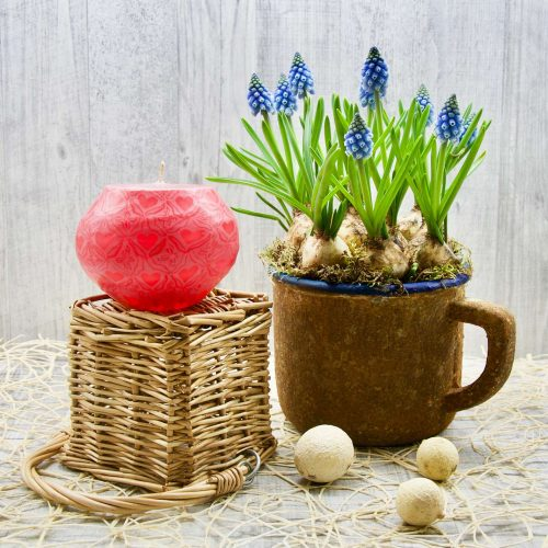 Kerze; Swazi Candle; Form: Pot S ca. 7cmx9cm; Gewicht: ca. 300g; Farbe: pink; wunderschönes pinkes Happy Hearts Muster