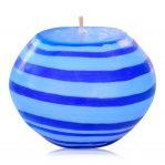Kerze; Swazi Candle; Form: Pot M ca. 12,5cmx9,5cm; Gewicht: ca. 580g; Farbe: blau; peppiges blaues Lollipopmuster