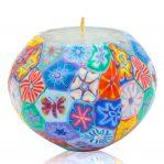 Kerze; Swazi Candle; Form: Pot M ca. 12,5cmx9,5cm; Gewicht: ca. 580g; Farbe: multi; ansprechendes Muster nach der Millefioritechnik in wunderschönen, intensiven Farben