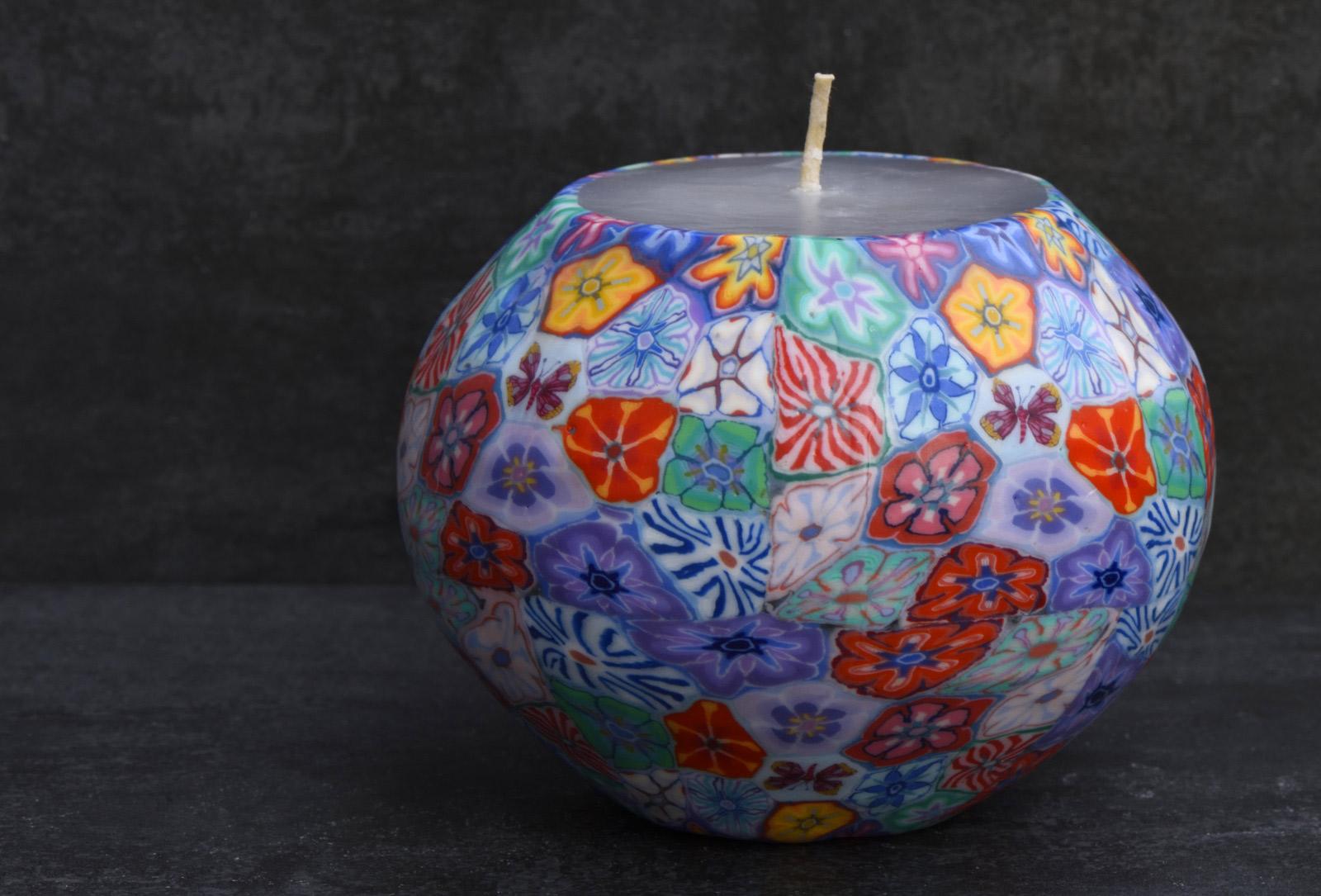 Kerze Modell Millefiori GBP, Farbe: multi, Form: Pot. Handgemachte Designkerze. Kerzen online kaufen