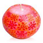 Kerze Modell Timbali SBP, Farbe: orange-rot, Form: Pot. Handgemachte Designkerze.