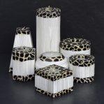 Kerzenset Modell Elegance, Farbe: weiss-Tierfell, Form: multi. Handgemachte Designkerze. Kerzen online kaufen