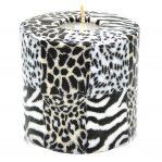 Kerze; Swazi Candle; Form: Pillar XL ca. 11cmx10,5cm; Gewicht: ca. 830g; Farbe: Animalprint; Streifzug durch die Tierwelt Afrikas; wunderschönes Design