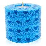 Kerze; Swazi Candle; Form: Pillar M ca. 7cmx9cm; Gewicht: ca. 380g; Farbe: blau; wunderschönes blaues Happy Hearts Muster