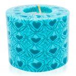 Kerze; Swazi Candle; Form: Pillar M ca. 7cmx9cm; Gewicht: ca. 380g; Farbe: türkis; wunderschönes Türkises Happy Hearts Muster