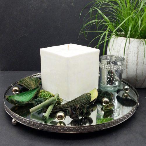 Kerze; Swazi Candle; Form: Cube L ca. 9cmx9cmx9cm; Gewicht: ca. 640g; Farbe: weiss, elegantes leuchtendes weisses Sternenmuster; Dekoration von Blueowl